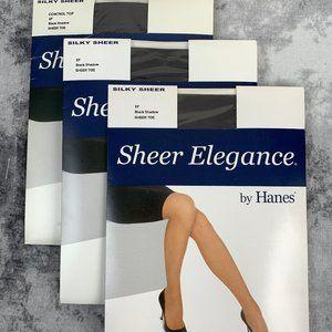 HANES Silky Sheer Pantyhose Size EF Lot of 3
